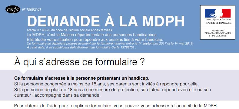 Enthea - Image du formulaire de demande à la MDPH